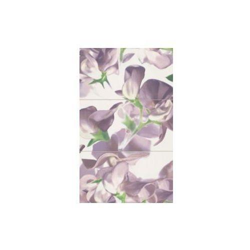 Tubądzin Dekor ścienny 3-elementowy Bloom Violet 59,3x98,5 cm (glazura i terakota)