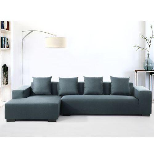 Sofa ciemnoniebieska - sofa narozna P - tapicerowana - LUNGO, Beliani