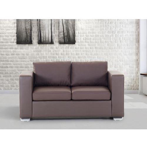 Sofa skórzana dwuosobowa brazowa - kanapa - HELSINKI, Beliani