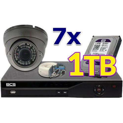 Zestaw do monitoringu: Rejestrator 8 Kanałowy BCS-CVR0801-III , 7 x Kamera LV-N1300IR40DVBL, Dysk 1TB, Akcesoria
