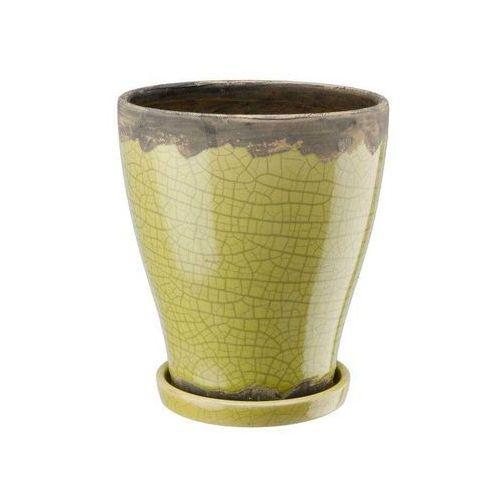 Doniczka ceramiczna z podstawką zielona, produkt marki Galicja