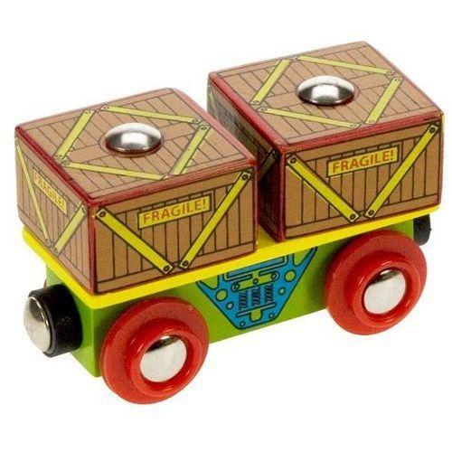 Wagon ze skrzyniami do zabawy , wyposażenie kolejek drewnianych Bigjigs, Bigjigs Toys z www.epinokio.pl