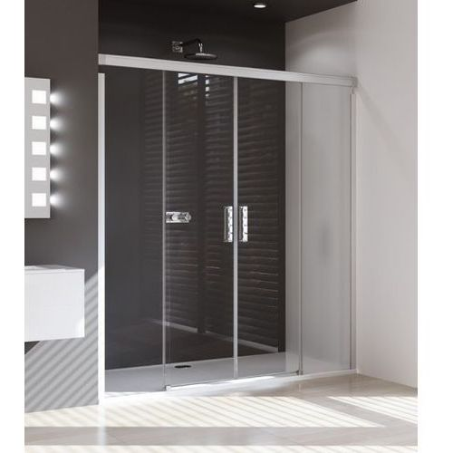 Huppe Design Pure Drzwi prysznicowe suwane 2-częściowe ze stałymi segmentami - 160/190 srebrny matowy Szkł
