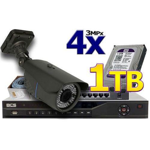 Zestaw do monitoringu IP: Rejestrator IP BCS-NVR04025ME, 4 x Kamera LV-AMB3601IP, Dysk 1TB Purple, Akcesoria