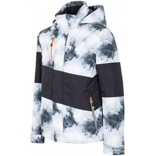 [T4Z15-JKUMN001] Kurtka narciarska chłopięca JKUMN001 - biało-czarny allover, 4F z 4fsklep
