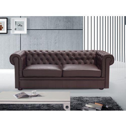 Sofa kanapa skórzana brazowa klasyka dom biuro CHESTERFIELD, Beliani