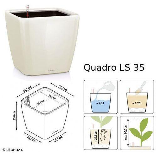 Donica  QUADRO LS 35 - taupe (kawa z mlekiem) - połysk - kawa z mlekiem, produkt marki Lechuza