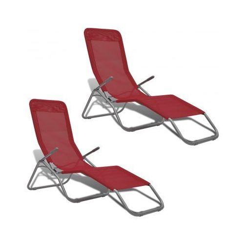 Leżak z ramą wychylną i czerwonym materiałem 2 szt - produkt dostępny w VidaXL