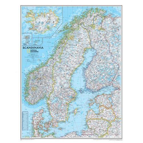 Skandynawia. Mapa ścienna Classic magnetyczna w ramie 1:2,8 mln wyd. , produkt marki National Geographic