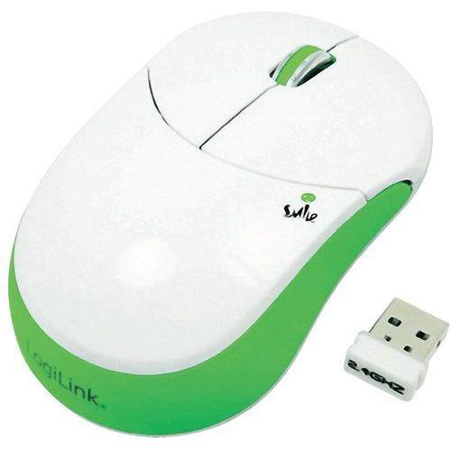 Mysz bezprzewodowa, LogiLink ID0074, Optyczny, 1000 dpi, Radiowa, Biały, Zielony z kat.: myszy, trackballe i wskaźniki