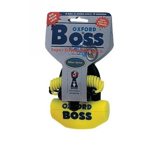 Blokada tarczy hamulcowej OXFORD Boss z przypominaczem i mocowaniem trzpień 14mm kolor żółty GS (alarm motocyklowy)