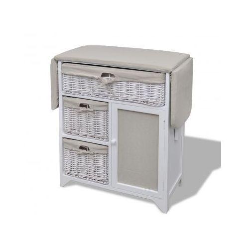 Drewniana, biała szafka z koszyczkami i rozkładaną deską do prasowania, marki vidaXL do zakupu w VidaXL