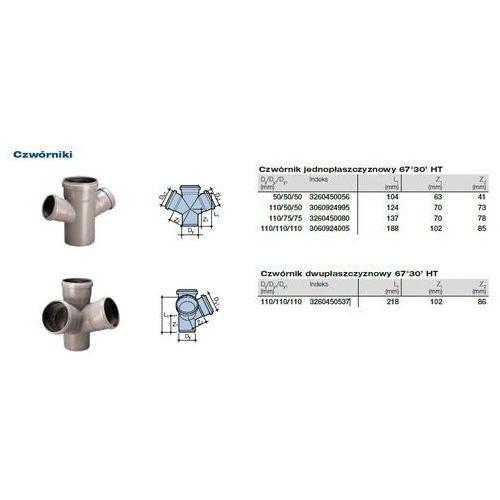 Czwórnik dwupłaszczyznowy kanalizacyjny Wavin HT PVC/PP 110x110x110/67* stopni popiel