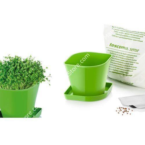 Zioła w kuchni - zestaw donica z podstawką, ziemia oraz nasiona rzeżuchy - kwadratowe, produkt marki Tescoma