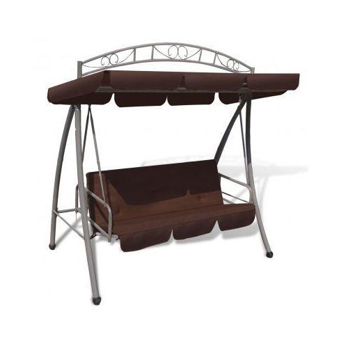 Huśtawka / łóżko z baldachimem w kolorze kawy z ozdobnym łukiem, vidaXL