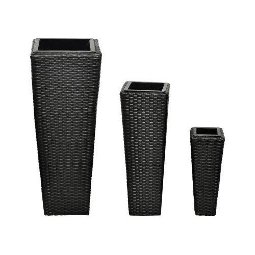 Donice z rattanu w kolorze czarnym., produkt marki vidaXL