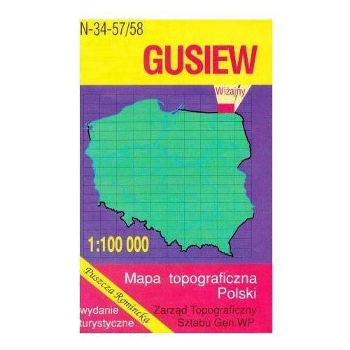 N-34-57/58 Gusiew. Mapa topograficzno-turystyczna 1:100 000 wyd. WZ-Kart, produkt marki Wojskowe Zakłady Kartograficzne