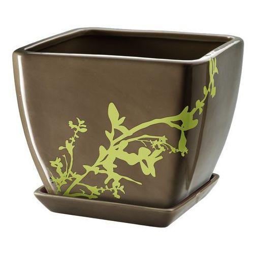 Doniczka z podstawką 13 cm, brązowa, produkt marki Galicja