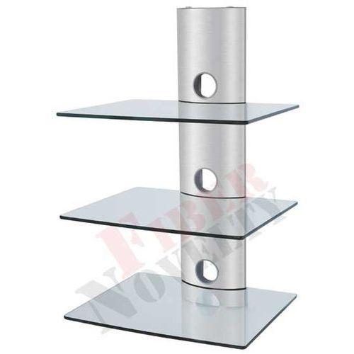 Fiber Novelty Półka audio video DVD hartowane szkło i polerowane aluminium - D51CS z kat. półki rtv