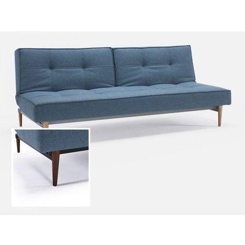 Sofa Splitback niebieska 525 nogi ciemne drewno  741010525-741007-3-2, INNOVATION iStyle