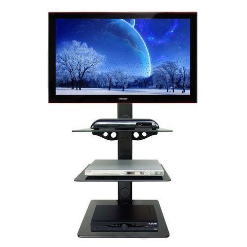GLAS3 - Półka AUDIO VIDEO DVD hartowane szkło i aluminium, max udźwig do 45kg, czarna z kat.: półki rtv