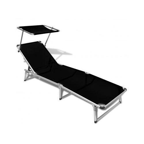 Leżak z aluminiową ramą oraz czarnym materiałem - produkt dostępny w VidaXL