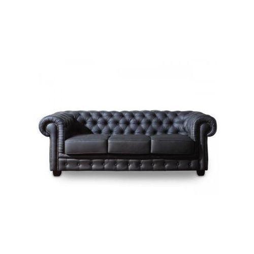 Sofa 3-osobowa CHESTERFIELD skóra czarna