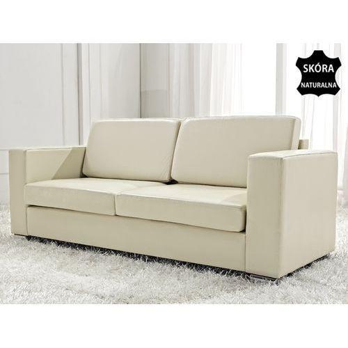 Skórzana sofa trzyosobowa bezowa - kanapa - HELSINKI, Beliani