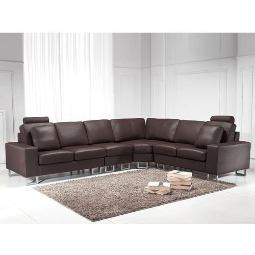 Stylowa sofa kanapa z brazowej skóry naturalnej naroznik STOCKHOLM, Beliani