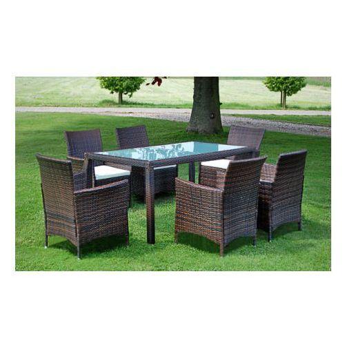 Meble ogrodowe rattanowe brąz stół + 6 krzeseł, produkt marki vidaXL