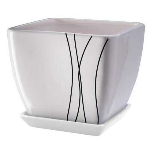 Doniczka z podstawką 13 cm, biała, produkt marki Galicja