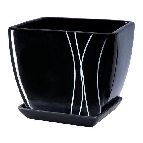 Doniczka z podstawką 15 cm, czarna, produkt marki Galicja