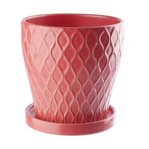 Doniczka ceramiczna z podstawka 13,5 cm czerwona, produkt marki Galicja