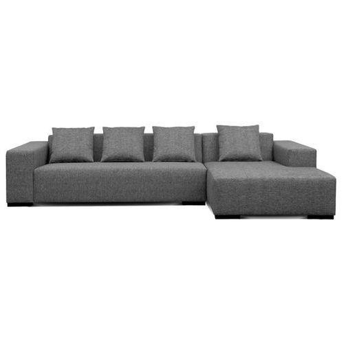 Sofa narozna L - tapicerowana - drewniane nózki - srednioszara - LUNGO, Beliani