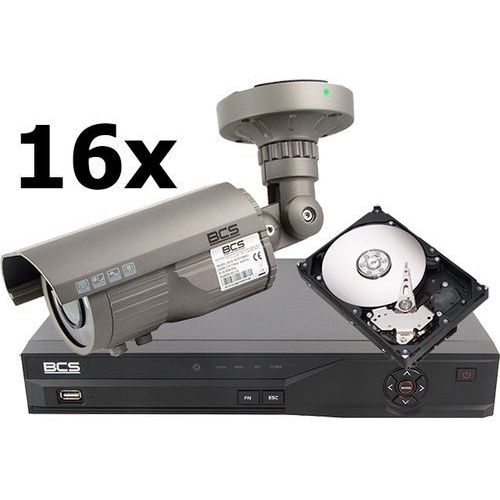 Zestaw do monitoringu: Rejestrator BCS-DVR1601SE, 16 x kamera BCS-T670TDNIR3, Dysk 500 GB