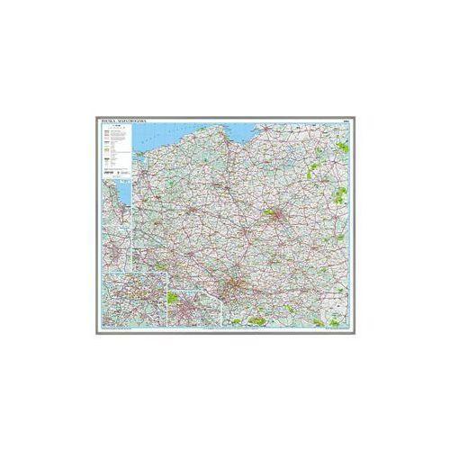 Polska mapa ścienna drogowa 1:800 000 Ekograf na podkładzie korkowym, produkt marki National Geographic
