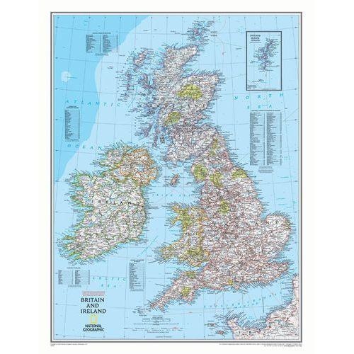Wyspy Brytyjskie. Mapa ścienna Classic w ramie 1:1,7 mln wyd. , produkt marki National Geographic