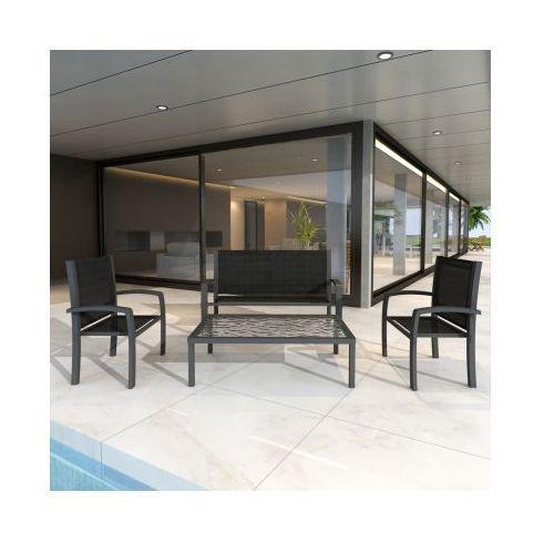 Zestaw mebli ogrodowych, metalowych ława+ławka+2 krzesła, produkt marki vidaXL