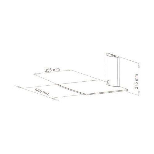 ART D49 - Półka audio/ video/ DVD, hartowane szkło i polerowane aluminium, srebrna z kat.: półki rtv