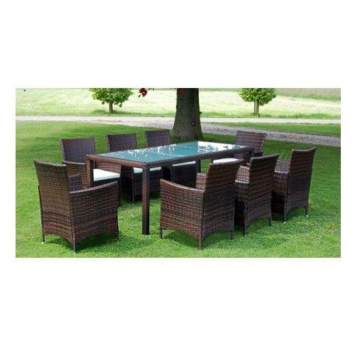 Meble ogrodowe rattanowe brąz stół + 8 krzeseł, produkt marki vidaXL