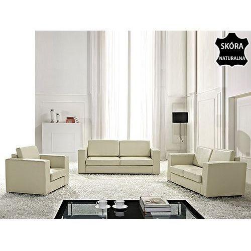 Sofa skórzana bezowa 2 x sofy, 1 x fotel HELSINKI, Beliani