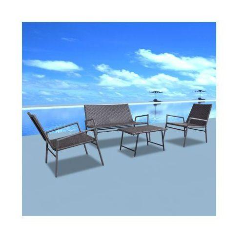 Rattanowy zestaw ogrodowy krzesła i stolik 4 szt. brązowy, produkt marki vidaXL