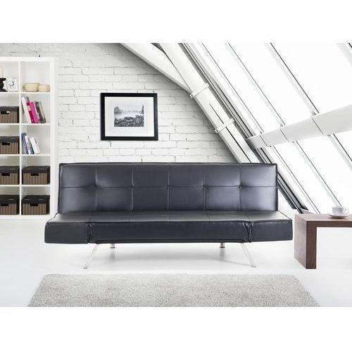 Rozkladana sofa czarna ruchome podlokietniki BRISTOL, Beliani
