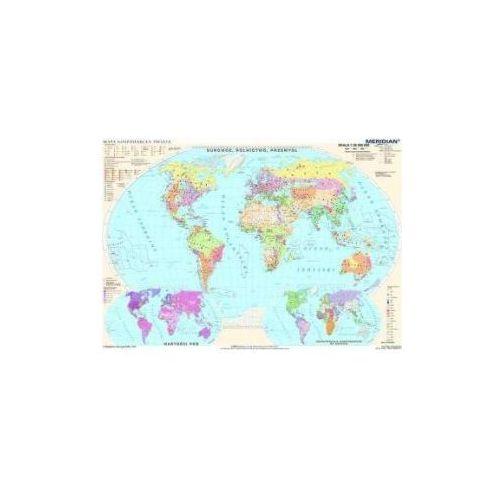 Produkt Świat gospodarczy - surowce i przemysł / demografia. Mapa ścienna świata., marki Meridian