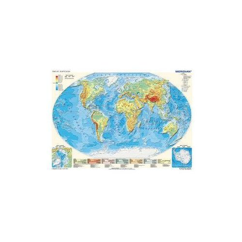 Produkt Świat fizyczny z elementami ekologii / mapa do ćwiczeń hipsometryczna. Mapa ścienna świata., marki Meridian