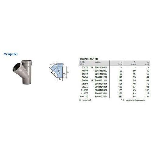 Trójnik kanalizacyjny Wavin HT PVC/PP 75x75/45* stopni popiel