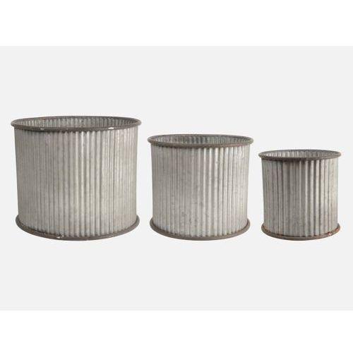 Doniczki Okrągłe z Rowkami Komplet (3sz)  4033-18, produkt marki Ib Laursen