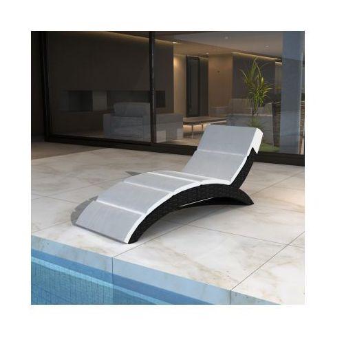 Luksusowy, odkryty, składany leżak rattanowy do ogrodu, czarny - produkt dostępny w VidaXL