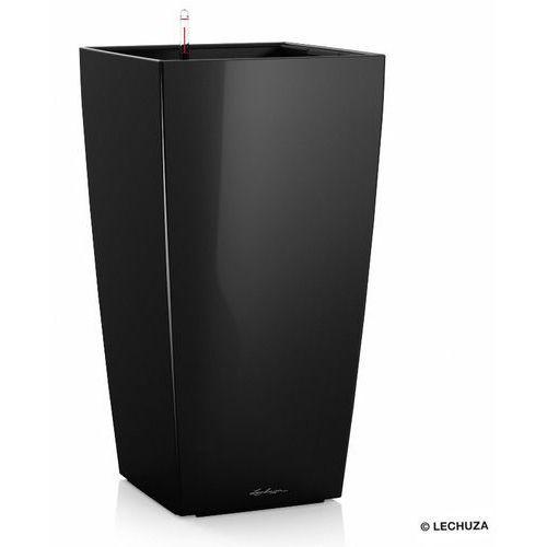 Donica  CUBICO - czarna - 22 x 22 x 41 cm, połysk - czarny, produkt marki Lechuza