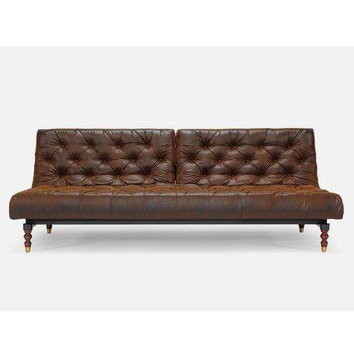 Sofa Oldschool brązowa 461 nogi ciemne drewno Retro  741018461-741018-4-11, INNOVATION iStyle